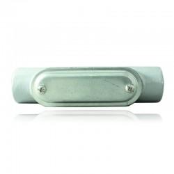 Conduleta CROUSE HINDS Serie 3 Forma - C 1 1-2 Pulg En Aluminio con pintura Gris - 12360591-C-53 CG C-TAPA Y EMP