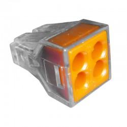 Conector Wago 4 Polos Naranja No 12 AWG